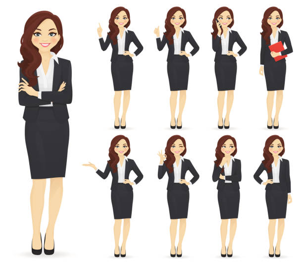 Businesswoman character set Businesswoman character in different poses set vector illustration suit stock illustrations