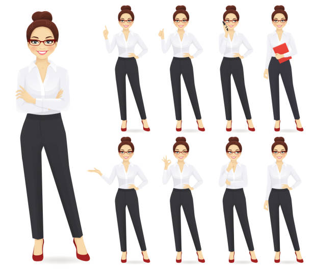 businesswoman character set - young women stock illustrations