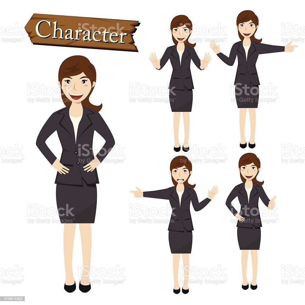 Businesswoman character set vector vector art illustration