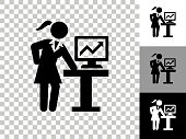 istock Businesswoman & Charts Icon on Checkerboard Transparent Background 1249301158