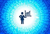 Businesswoman & Charts Icon on Internet Modern Technology Words Background