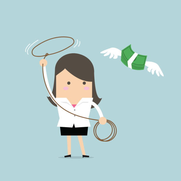 Businesswoman chasing flying money by rope, Financial concept. vector vector art illustration