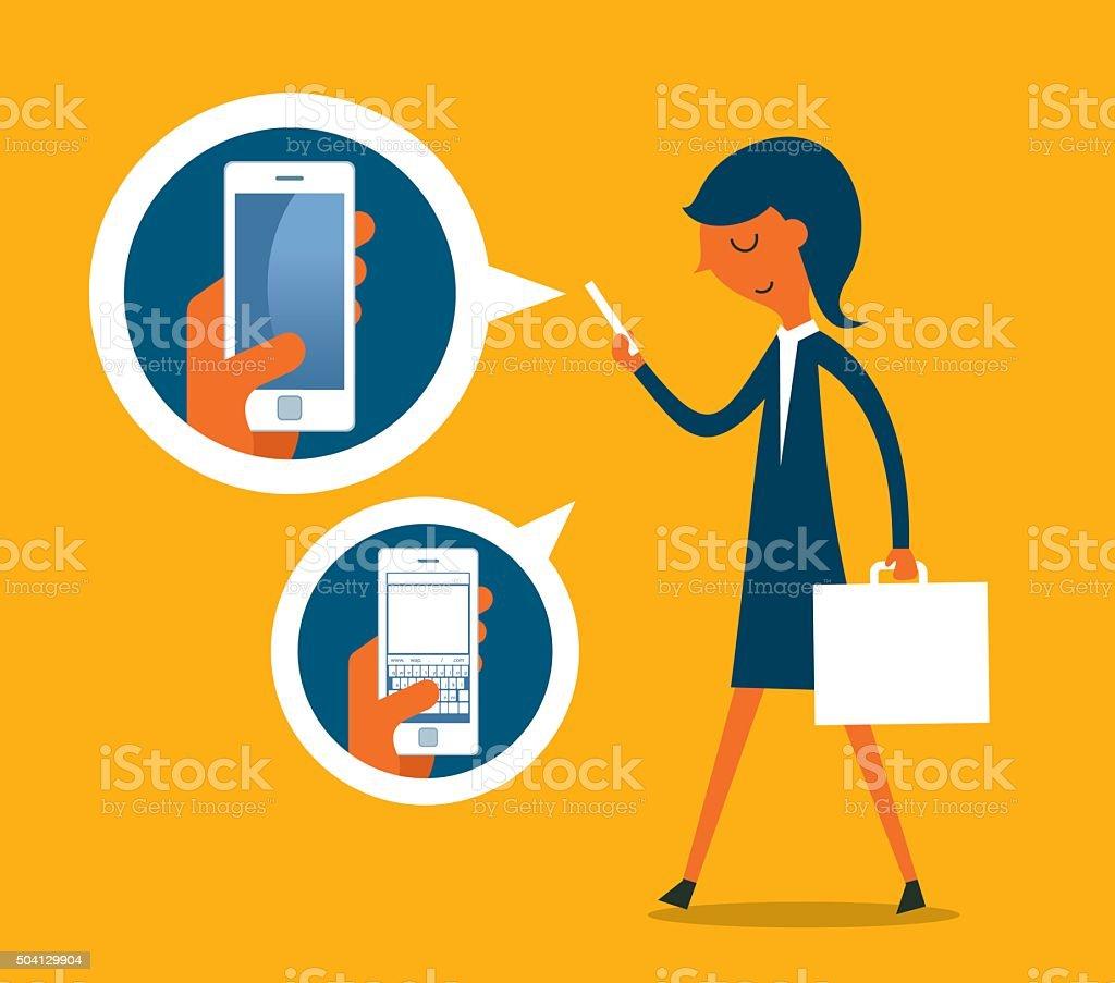 Businesswoman checking phone vector art illustration