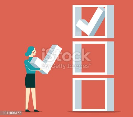 Businesswoman chooses check mark and puts it in the check box stock illustration