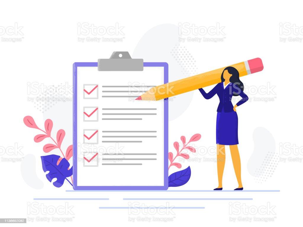 Checklist van de zakenVrouw. Succesvolle vrouw controletaak succes, voltooide zakelijke taken. Vinkje lijst vector illustratie - Royalty-free Alleen volwassenen vectorkunst