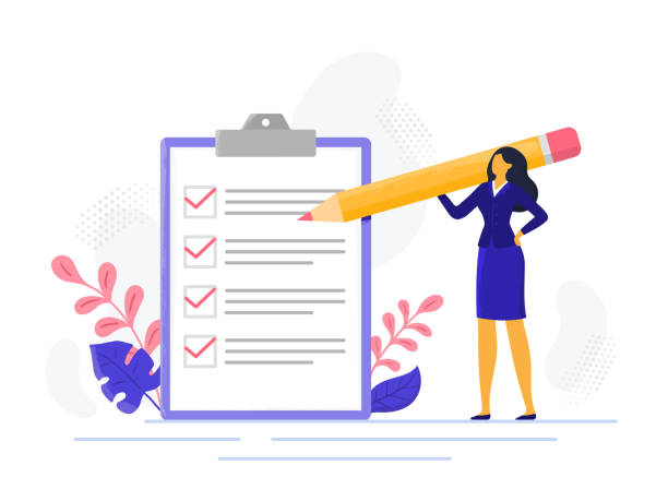 Businesswoman checklist. Successful woman checking task success, completed business tasks. Check mark list vector illustration Businesswoman checklist. Successful woman checking task success, completed business tasks. Check mark list, office organization briefings or questionnaire checkbox vector illustration checklist stock illustrations
