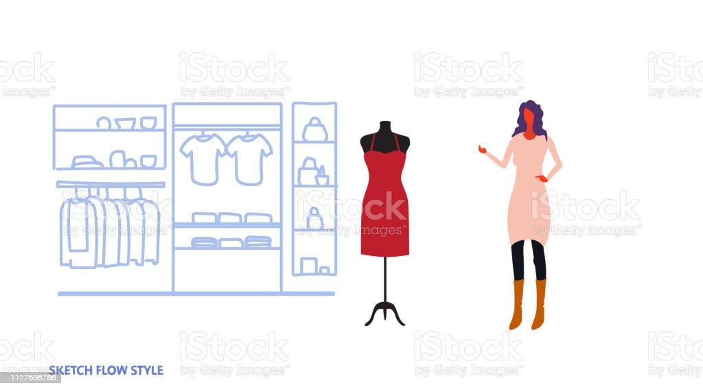 b8ee7a265 empresaria eligiendo a nuevo vestido elegante mujer permanente tienda moda  actual de ropa femenina de mercado