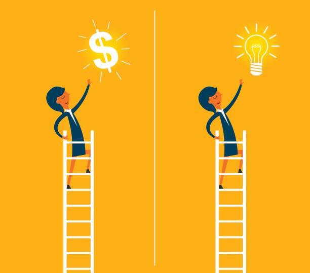 stockillustraties, clipart, cartoons en iconen met zakenvrouw klimmen ladder - woman very rich