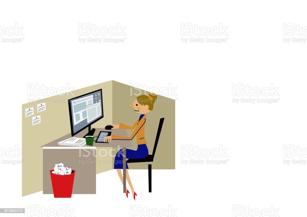 Clipart de femme d'affaires. Ordinateur de bureau. - Illustration vectorielle