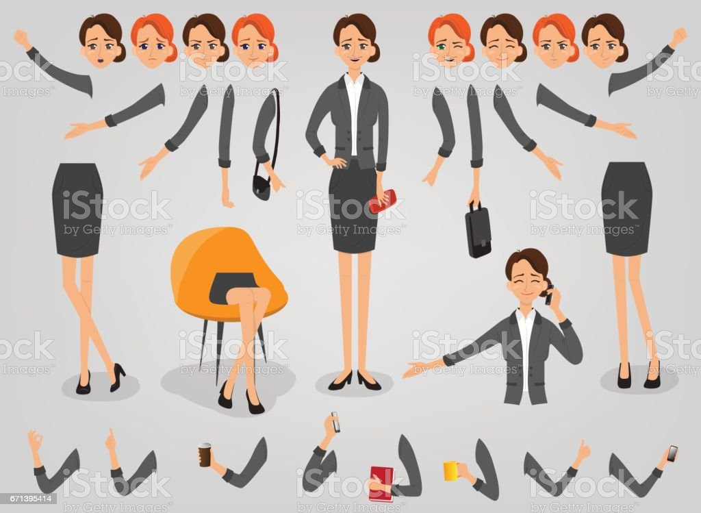 Businesswoman creation set build your character vector art illustration
