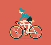 Businesswoman cycling. boss is on bicycle. Business illustration