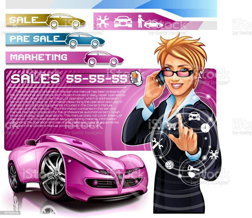 Businesswoman dealership in car sales salon royalty-free stock vector art