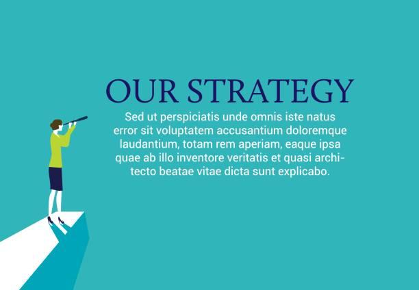 Businesswoman developing new strategies vector art illustration