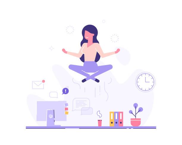 bildbanksillustrationer, clip art samt tecknat material och ikoner med affärskvinna gör yoga för att lugna ner den stressande känslan från hårt arbete i office på skrivbordet med office process ikoner på bakgrunden. begreppet meditation. moderna vektorillustration. - work stress
