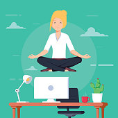 Businesswoman doing yoga to calm down the stressful emotion from hard work in office over desk with office objects on background. Concept of meditation. Modern vector illustration. Peaceful and happy