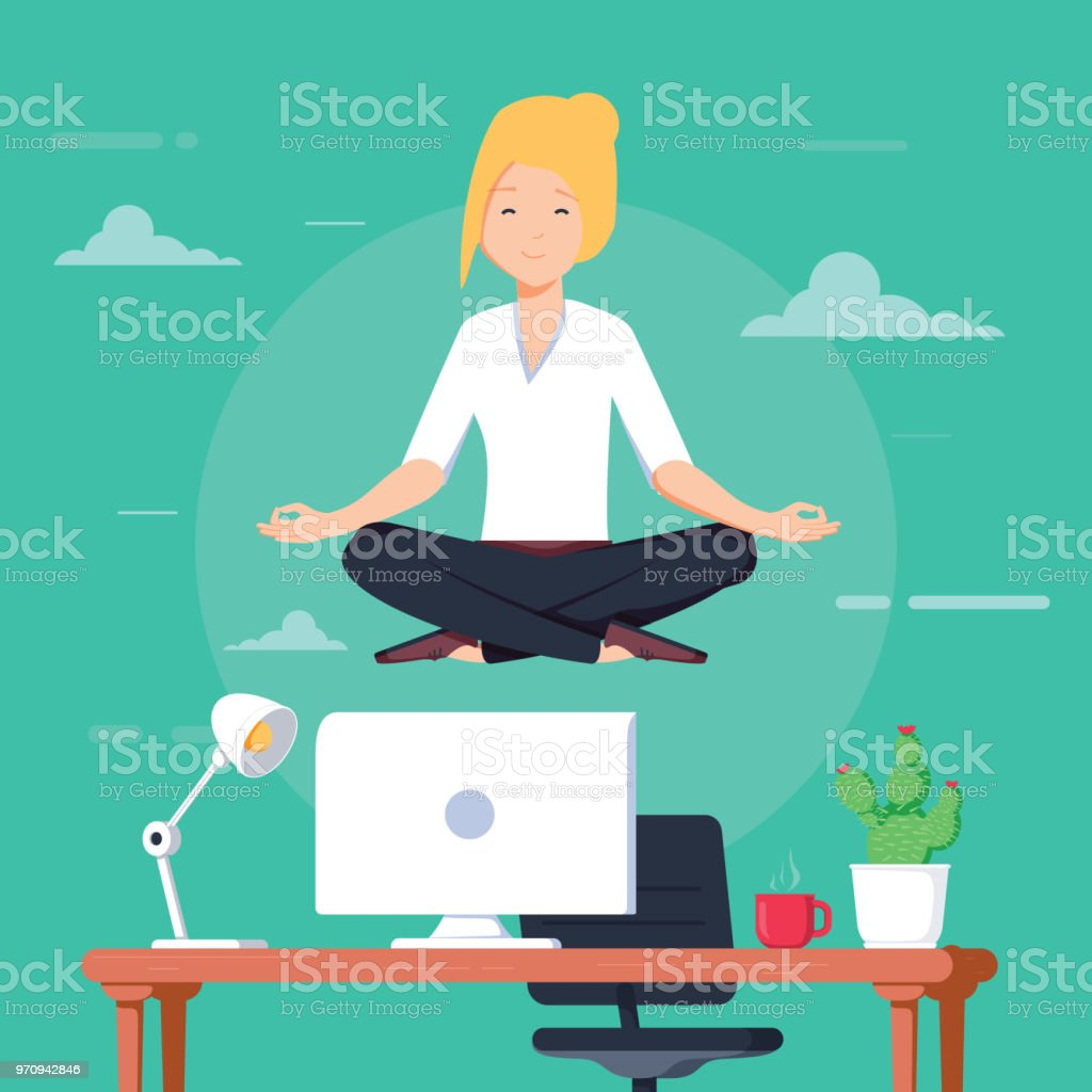 Businesswoman doing yoga to calm down the stressful emotion from hard work in office over desk with office objects on background. vector art illustration