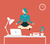 Businesswoman doing yoga to calm down the stressful emotion from hard work in office over desk with office process icons on background.