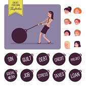 Businesswoman dragging a giant heavy weight on chain. Build your own illustration. Cartoon vector flat-style infographic illustration
