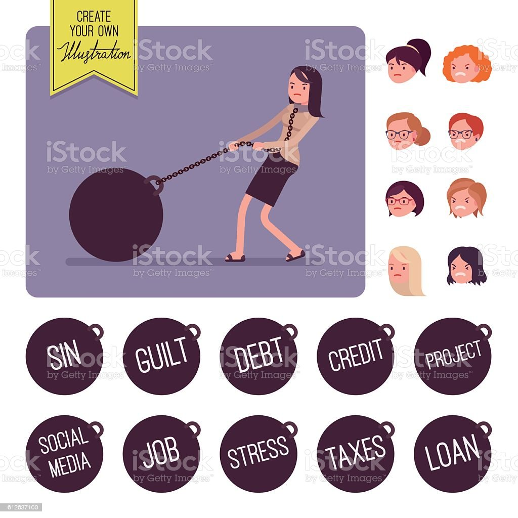 Businesswoman dragging a giant heavy weight on chain vector art illustration
