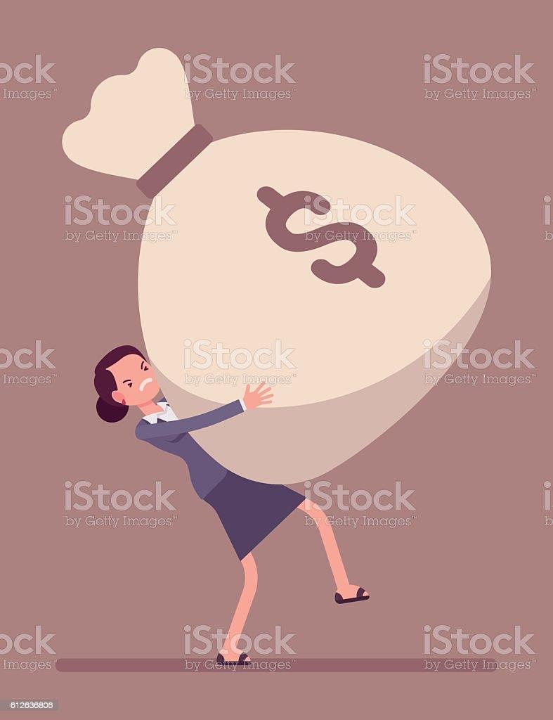 Businesswoman dragging a giant money sack - Illustration vectorielle