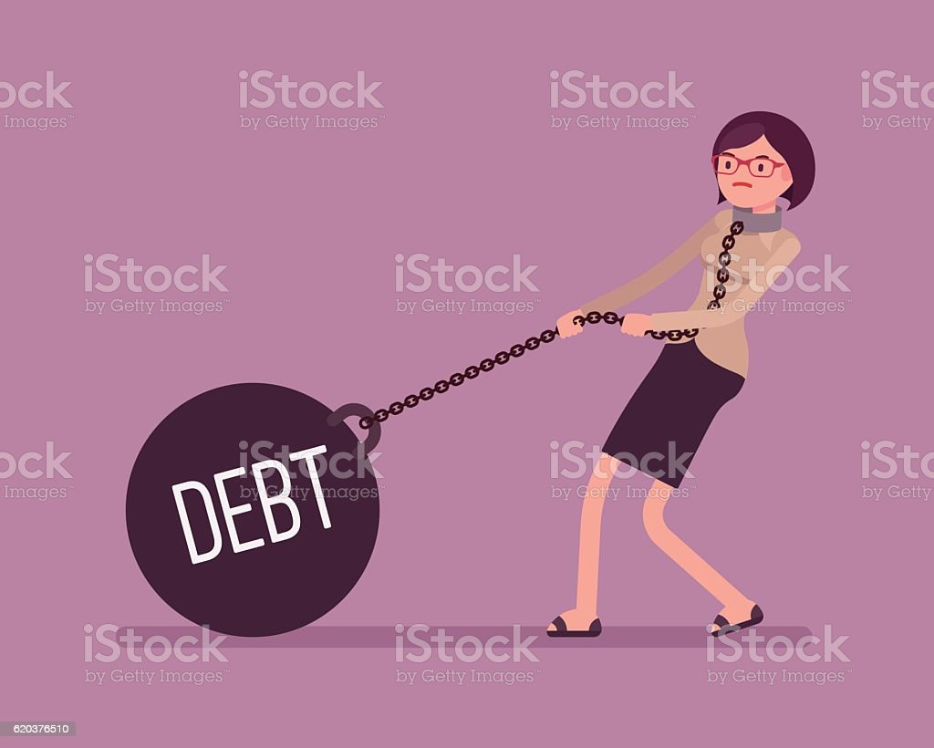 Businesswoman dragging a weight Debt on chain vector art illustration