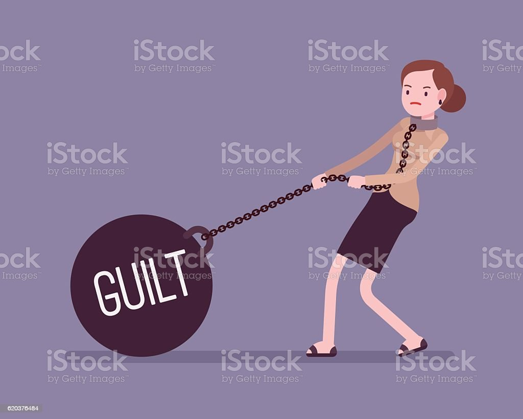 Businesswoman dragging a weight Guilt on chain vector art illustration