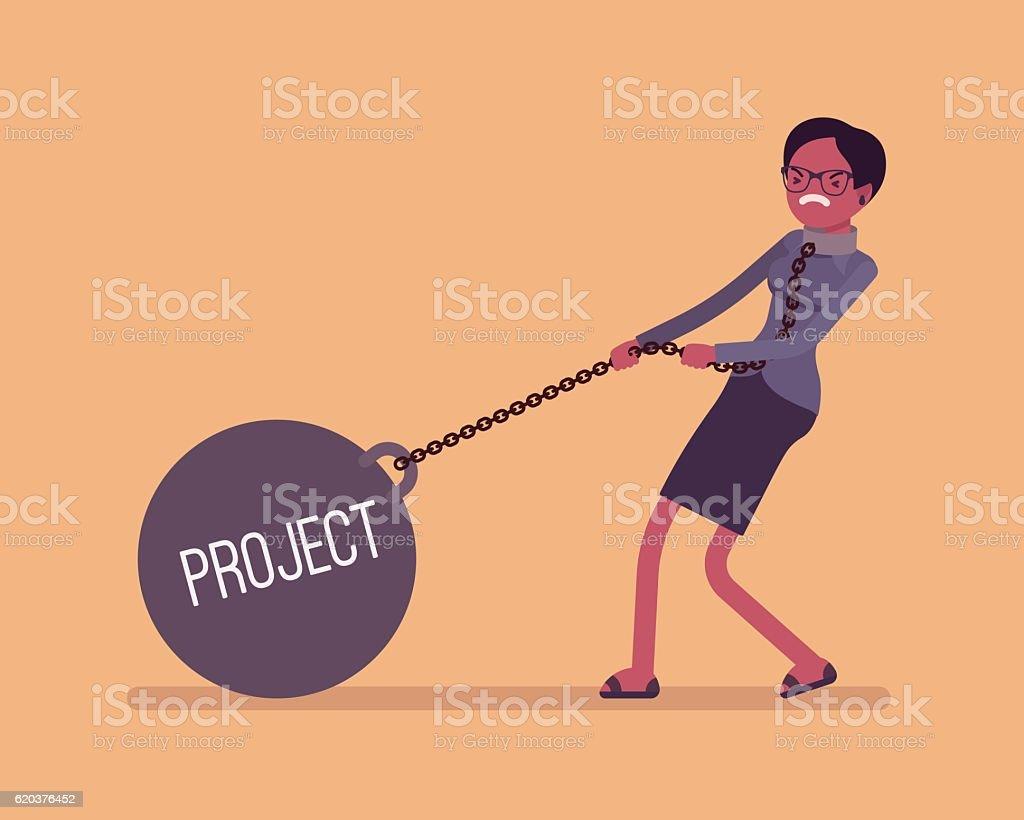 Businesswoman dragging a weight Project on chain businesswoman dragging a weight project on chain - arte vetorial de stock e mais imagens de acidentes e desastres royalty-free