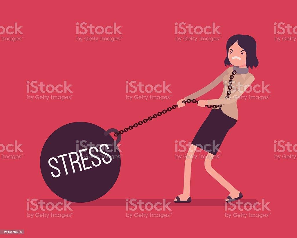 Businesswoman dragging a weight Stress on chain businesswoman dragging a weight stress on chain - stockowe grafiki wektorowe i więcej obrazów białe kołnierzyki royalty-free