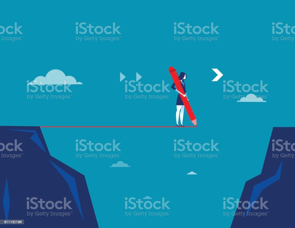 Businesswoman draw line with pencil. Concept business vector. vector art illustration
