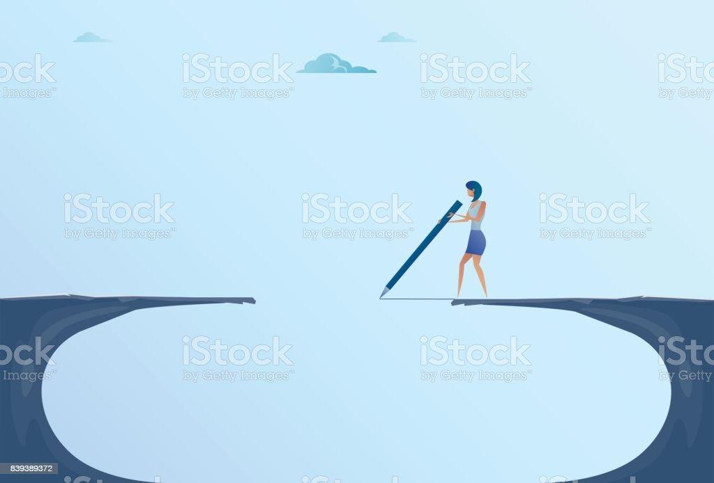 Empresaria dibujo puente caminando sobre acantilado Gap Montaña mujer riesgo concepto de negocio - ilustración de arte vectorial