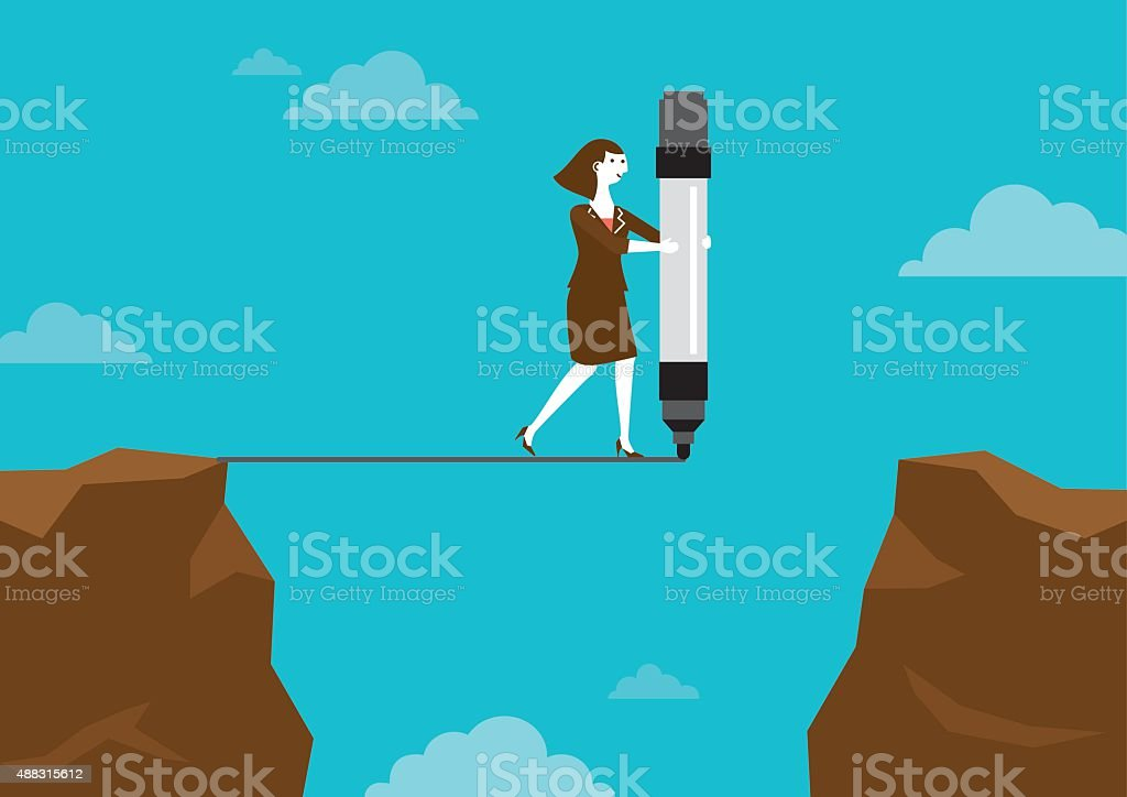 Businesswoman Drawing Line Across Cliffs | New Business Concept vector art illustration