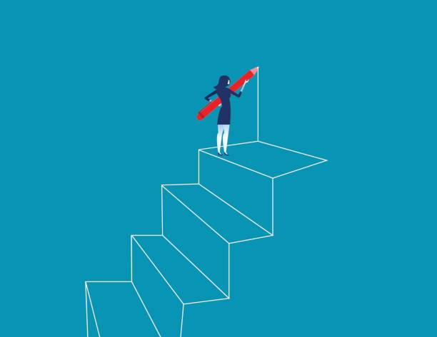Businesswoman drawing outline of steps with pen. Concept business vector illustration. vector art illustration