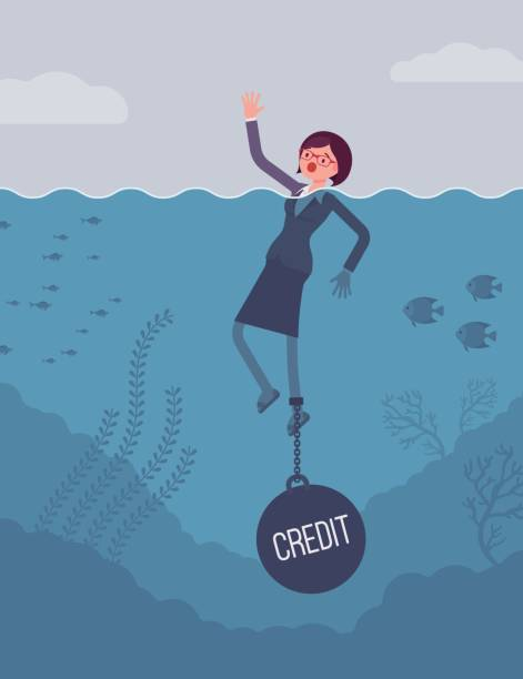 businesswoman drowning chained with a weight credit - credit score stock illustrations, clip art, cartoons, & icons