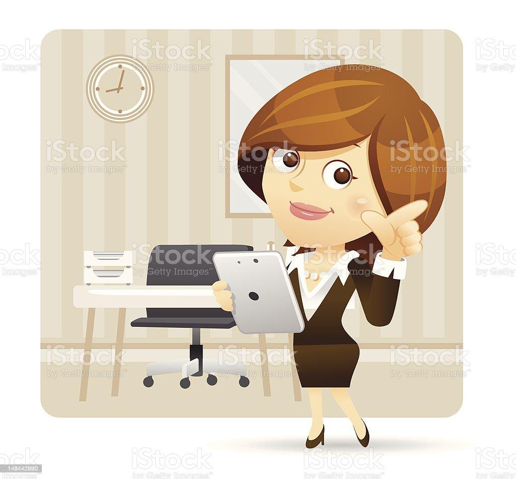 ビジネスウーマンにタブレット PC をお楽しみください。 ベクターアートイラスト