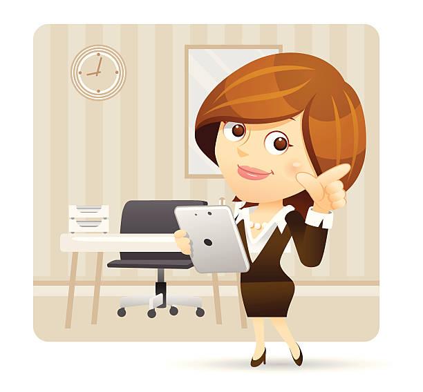 ビジネスウーマンにタブレット pc をお楽しみください。 - 受付係点のイラスト素材/クリップアート素材/マンガ素材/アイコン素材