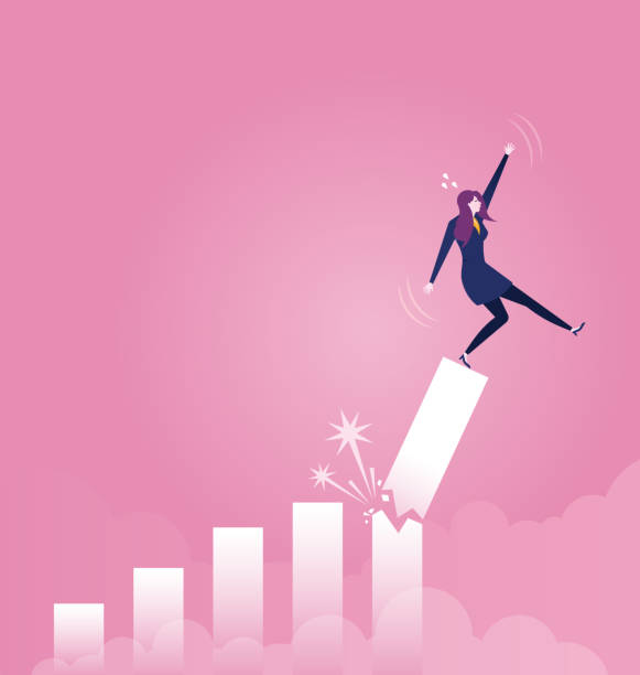 ilustrações de stock, clip art, desenhos animados e ícones de businesswoman falling down from broken growth rate diagram - business concept vector - criança perdida