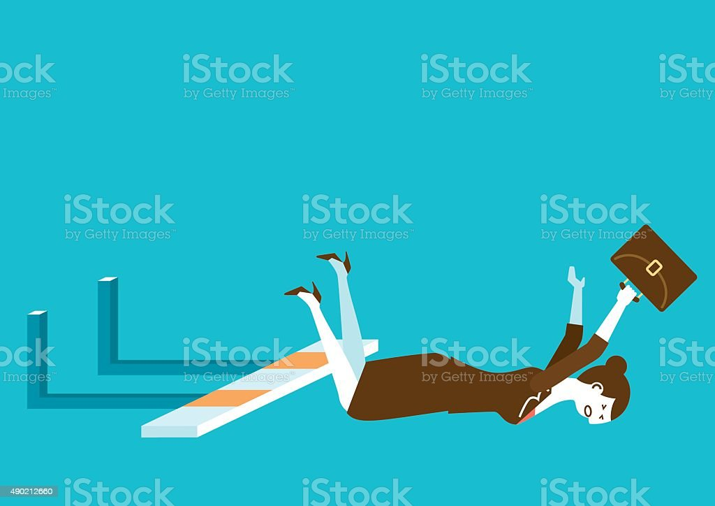 Businesswoman Falls on Hurdle | New Business Concept vector art illustration