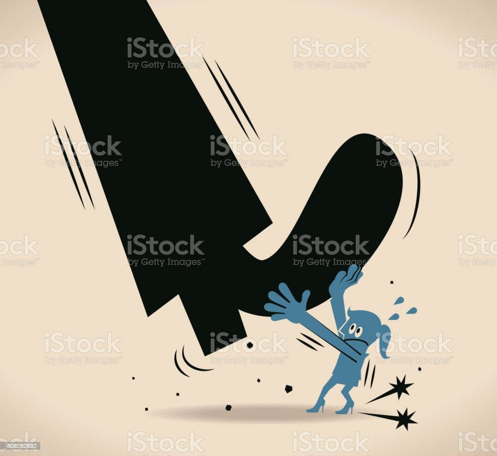Lucha de empresaria (mujer, muchacha) contra el gran hombre (zapatos), preservar la independencia - ilustración de arte vectorial
