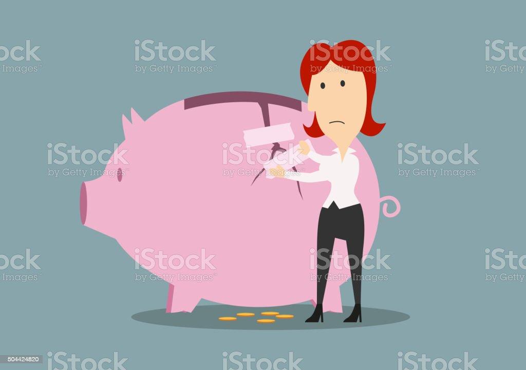 Businesswoman fixing the crack on piggy bank vector art illustration