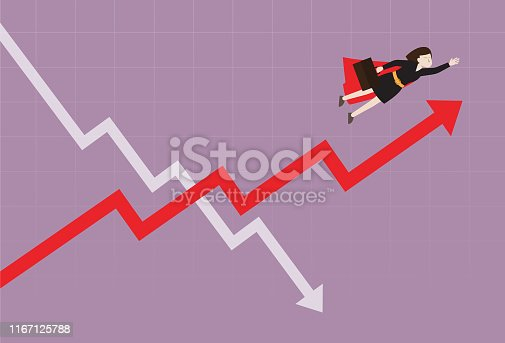 istock Businesswoman fly over the stock market graph 1167125788