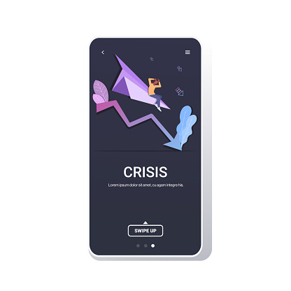 businesswoman flying down on paper airplane startup failure crash project financial crisis bankruptcy business falling concept downward chart graph smartphone screen mobile app copy space