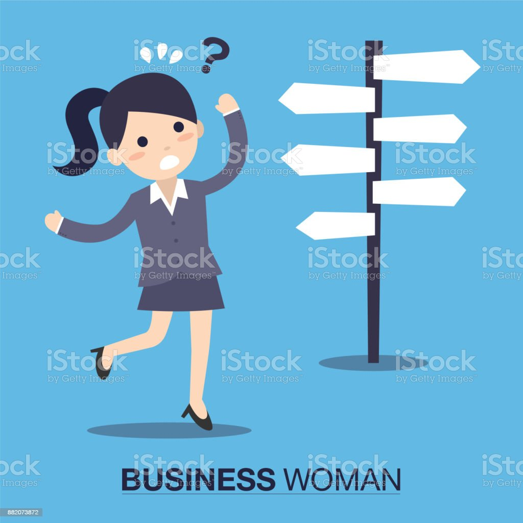 Businesswoman front of a choice vector art illustration