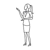 businesswoman full length gesturing with her hands
