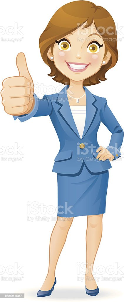 Businesswoman Gesturing Thumbs Up vector art illustration