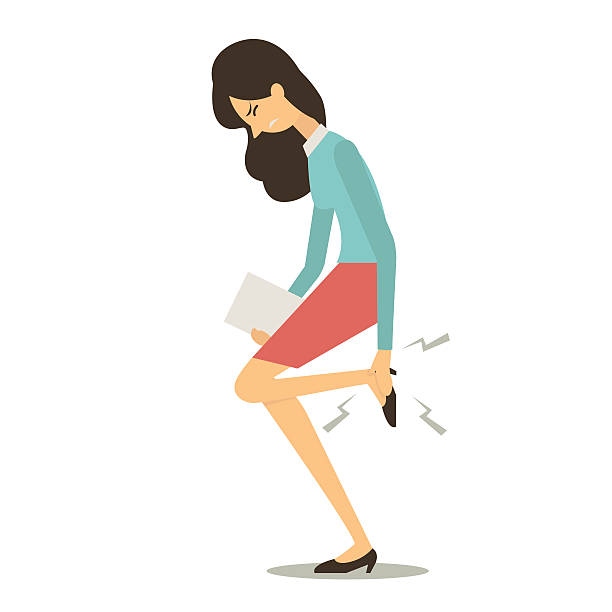 businesswoman get pain at foot - ludzka noga stock illustrations
