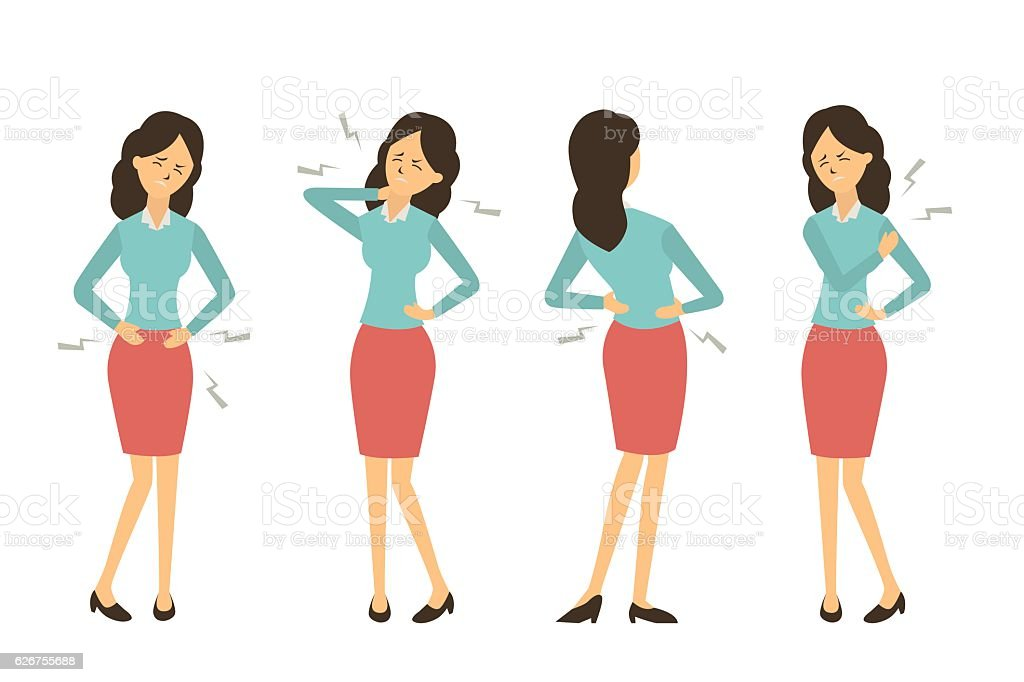 Businesswoman get pain from work vector art illustration