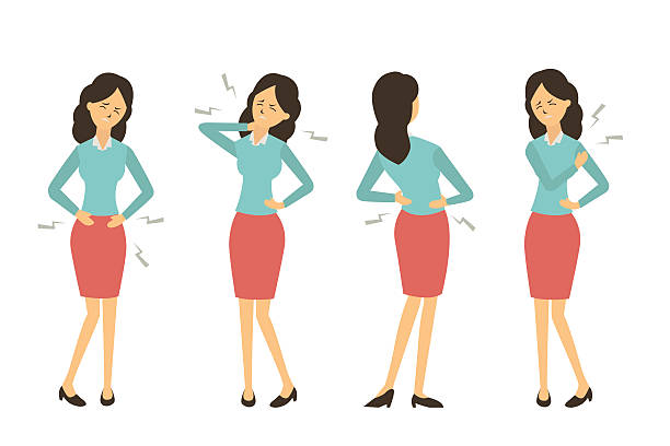 illustrazioni stock, clip art, cartoni animati e icone di tendenza di businesswoman get pain from work - dolore fisico