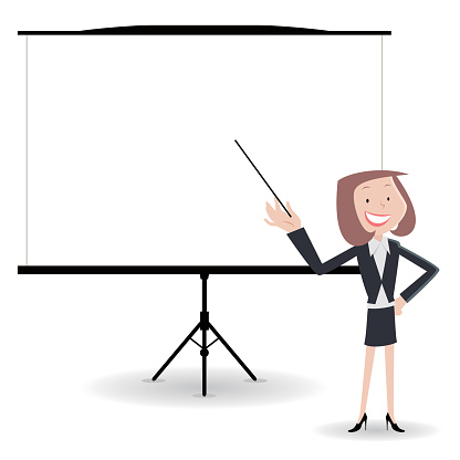 Businesswoman giving a presentation in a conference/meeting setting.