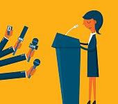 Businesswoman giving an interview