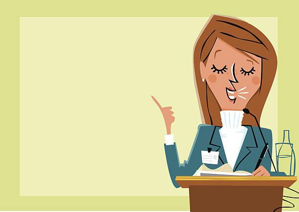 Empresaria dando presentación de los resultados y la presentación de. - ilustración de arte vectorial